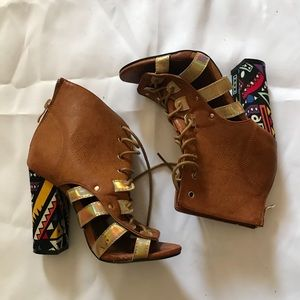 Chunky Heel Lace Up Aztec Booties